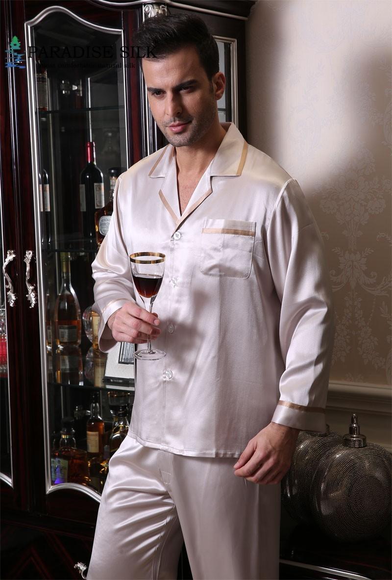 19MM 100% Pure Silk Men's Pajamas Top And Bottom Set Pyjamas Set Size L XL XXL