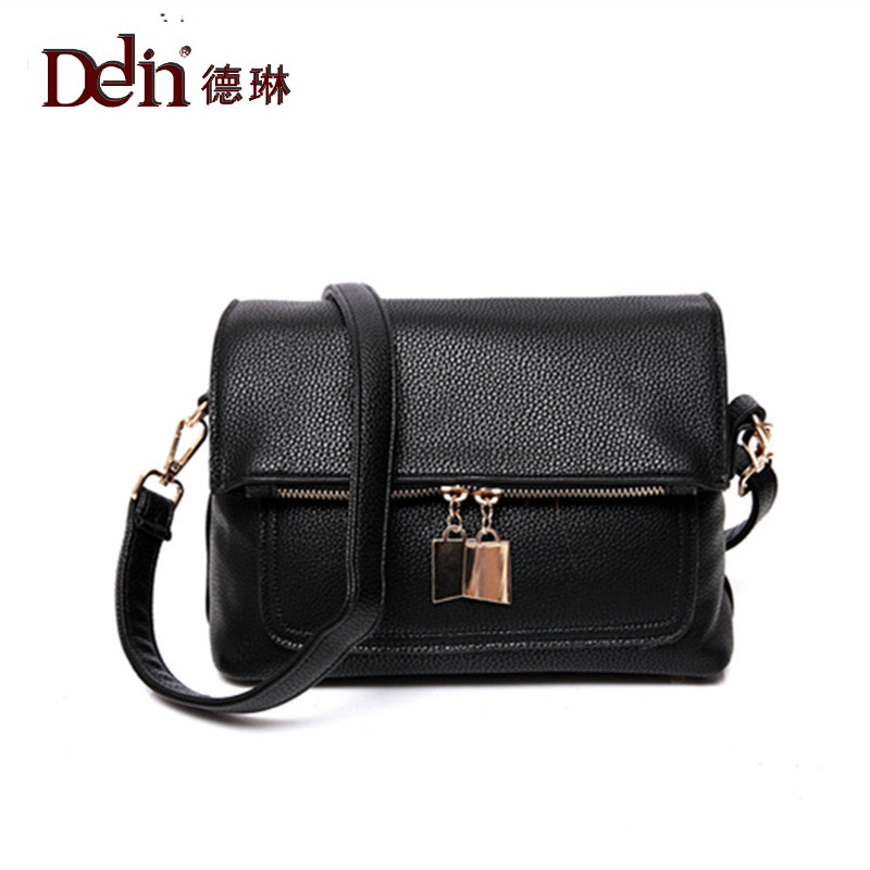DELIN In 2017 the new handbag fashion trend in han edition small litchi grain bread inclined shoulder bag piece undertakes