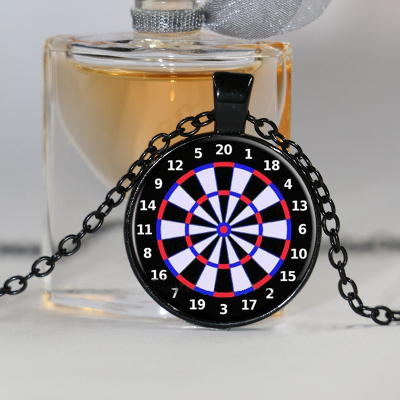 Dart Board Target Pendant Necklace Jewelry Fine Art Necklace Photo Jewelry Glass Pendant Gift