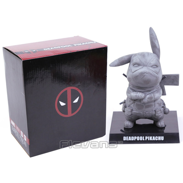 Pikachu Cos Deadpool PVC Figure Toy Collectible Modelo cinza/vermelho 14 cm Em Caixa