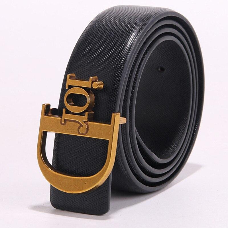 Genuine Leather   Belts   Luxury Designer Metal D Buckle   belt   women girls retro vintage large   belt   for jeans black white red
