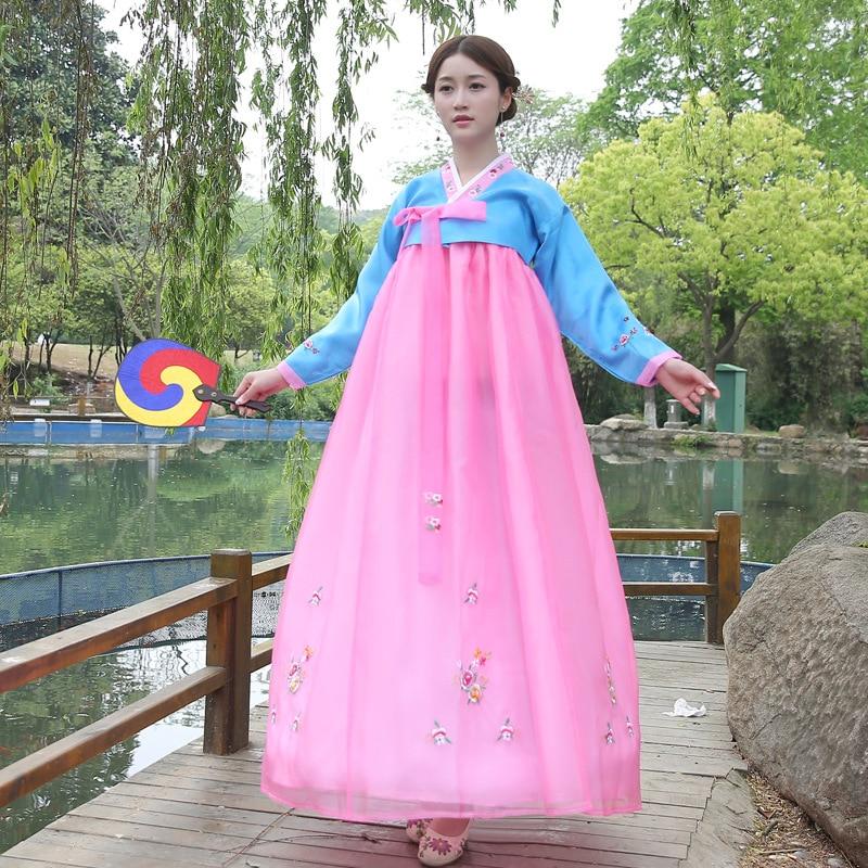 Korean perinteinen mekko kirjonta naisten Hanbok Korean perinteinen puku antiikin vaatteet ryhmä tanssi suorituskyky puku 18
