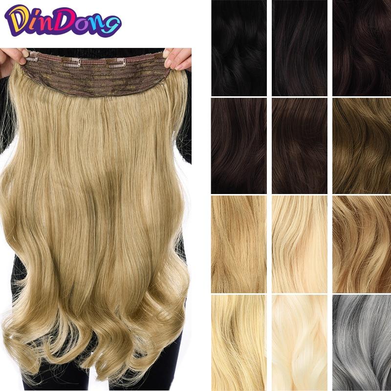DinDong Clip in Haar Extensions Synthetische Wellenförmige 24 zoll 190G Premium Hitze Beständig Haar 613 # Blonde Braun 19 farben Erhältlich