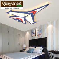 Qiseyuncai 2018 Çocuk odası karikatür uçak mavi LED göz koruması akrilik tavan lambası çocuk yatak odası enerji tasarruflu lamba