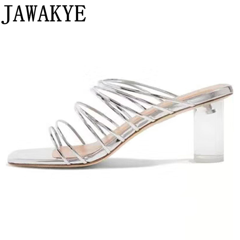 Summer slippers women narrow band transparent crystal chunky high heels genuine leather sexy gladiator sandals sapato feminino Summer slippers women narrow band transparent crystal chunky high heels genuine leather sexy gladiator sandals sapato feminino