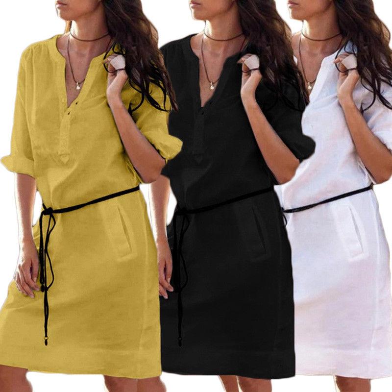 Casual Loose Cotton Dress Ladies  Mini Dresses Sundress 1