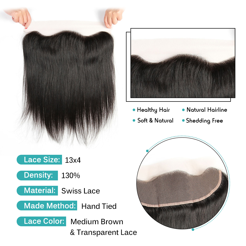 Image 3 - Ali Grace Brazilian Straight 13*4 Lace Frontal Medium Brown/ Transparent Lace Free/Middle Part Frontal 130% Destiny Remy Hair-in Closures from Hair Extensions & Wigs