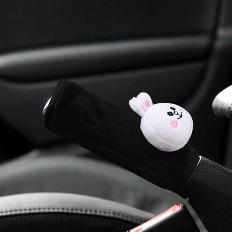 Sevimli karikatür ayı peluş araba emniyet kemeri kapağı omuz pedi el freni dişli Shifter kapak araba Styling iç aksesuarları