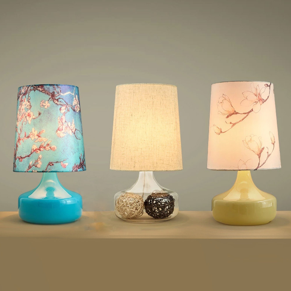 Pretty handmade glass stone table lamp for bed room abajour desk pretty handmade glass stone table lamp for bed room abajour desk light luminaria de mesa e27flower fabric shade lamp in desk lamps from lights lighting geotapseo Images