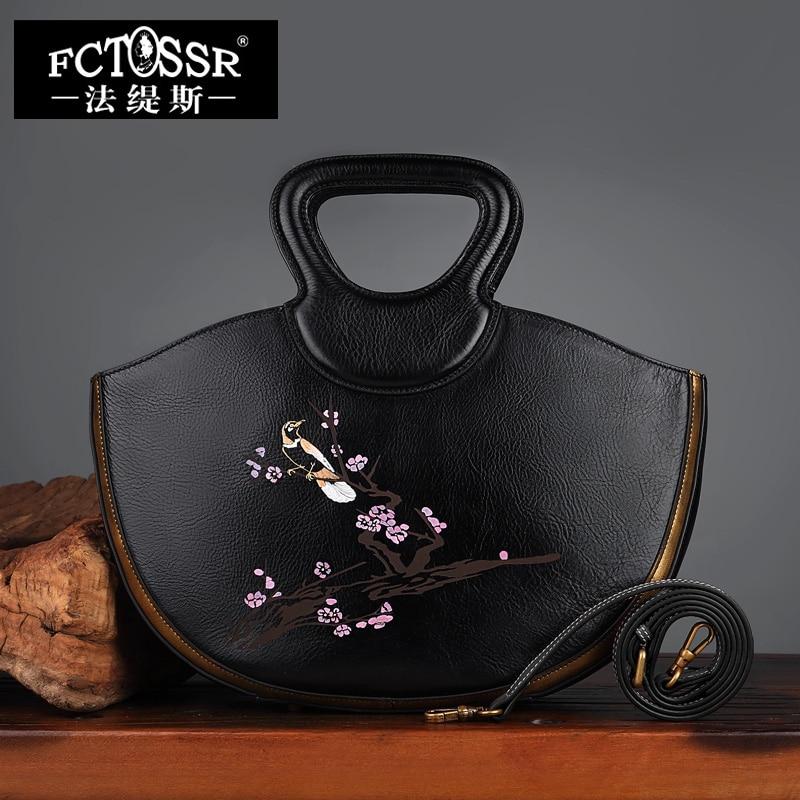 Fashion Women Handbag 2018 Hand Painted Genuine Leather Saddle Shoulder Sling Bag Female Cow Skin Printing Messenger Lady Bag