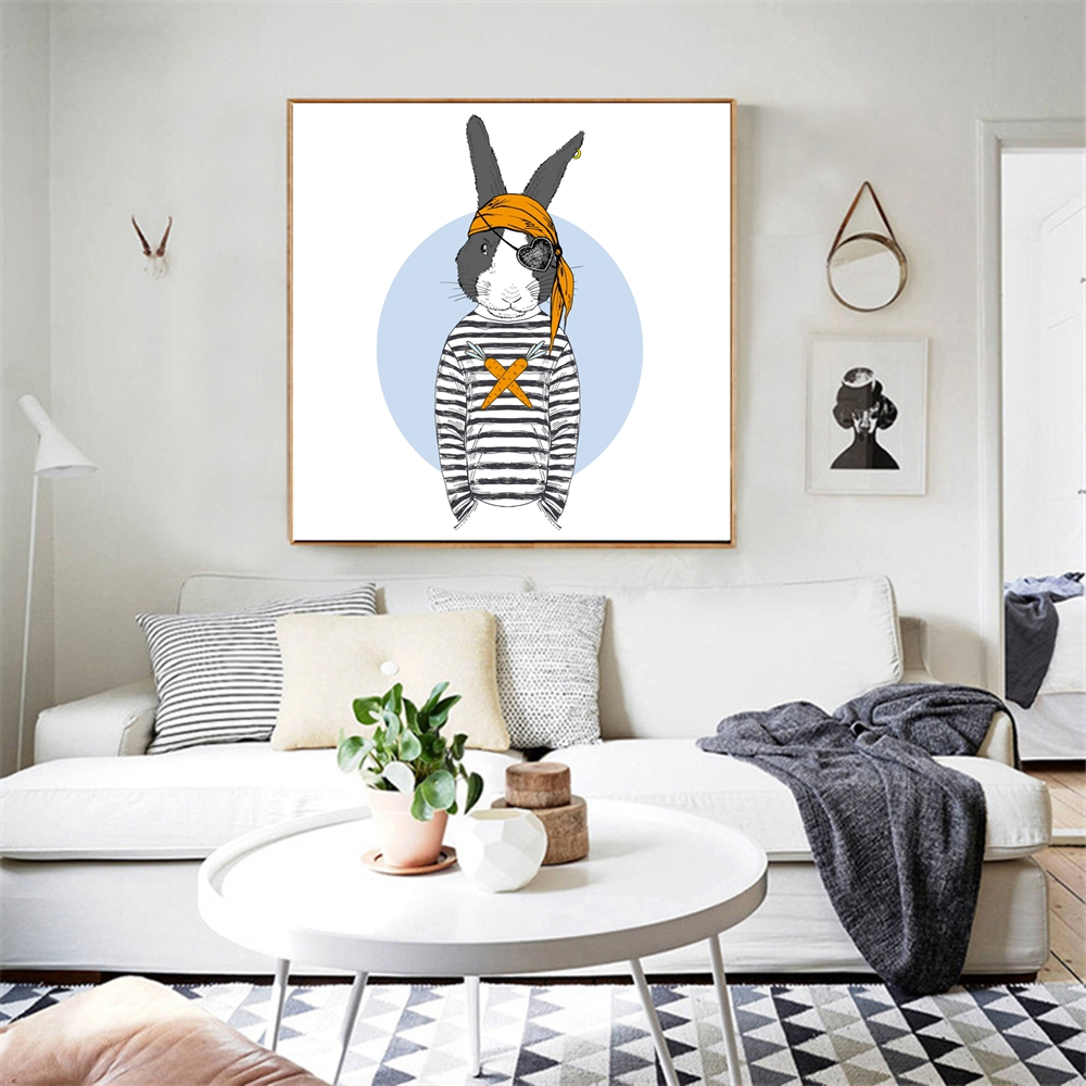 A Cool Pirate Rabbit Poster Nordic Fashion Animals Canvas Painting ...