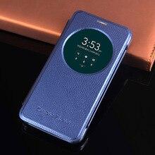 Capa de celular inteligente de couro, capa de visão inteligente de flip para asus zenfone 2 3 laser zenfone2 zenfone3 ze550kl ze551kl zc551kl ze 550 zc 551 kl