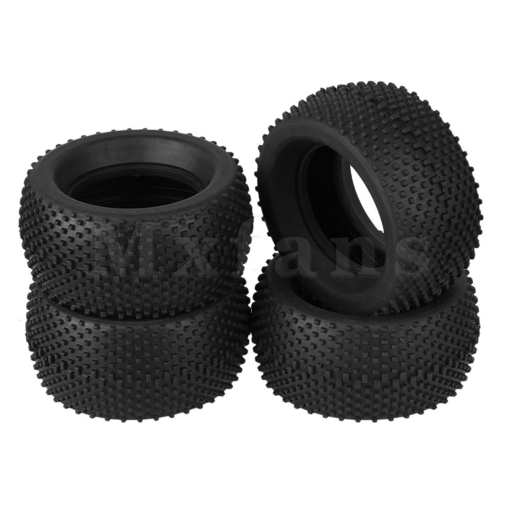 Mxfans 4pcs Black Cube Pattern Rubber Tyre fit font b RC b font 1 8 Truck