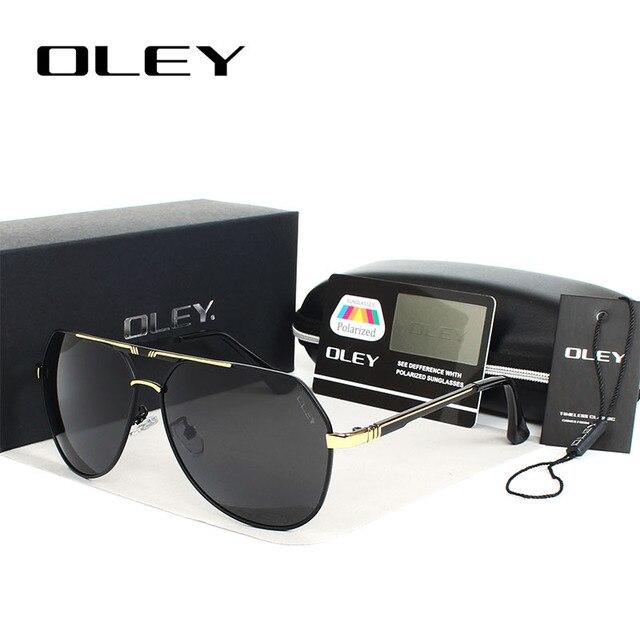 566c127b8d Oley 100% sol polarizadas Gafas HD lentes marcos de aleación color película  pilotos espejo Gafas