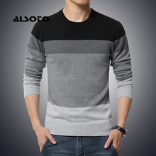 M-3XL Sweater Men 2017 New Arrival Casual Pullover Men Autumn Round Neck Patchwork Quality Knitted Male Sweaters Plus Size