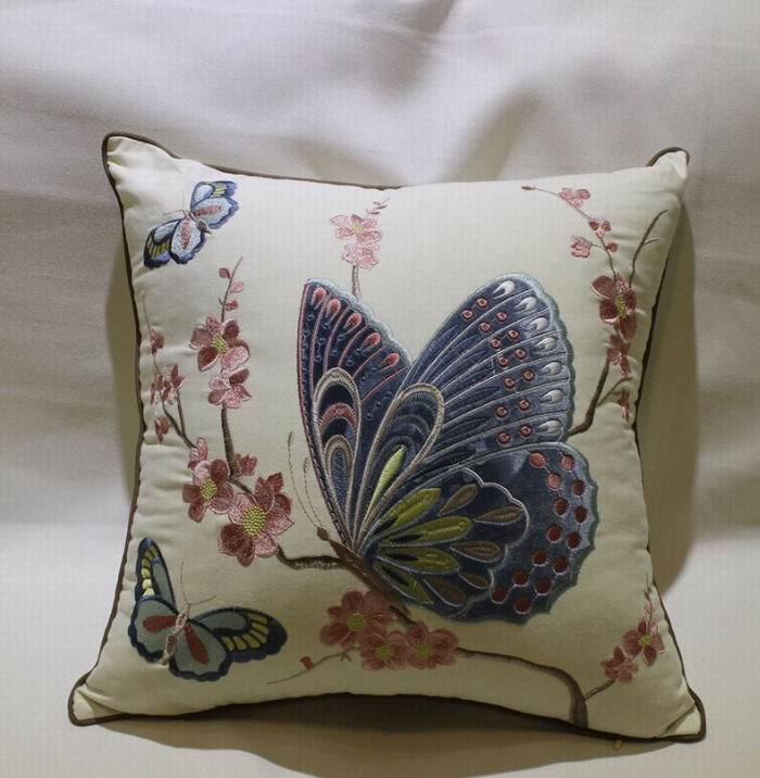 Fashion Embroidered butterfly Square Cushion Cover Cotton Linen Pillow Case Home Decoration 2colors CTHW003 - Best Natures store