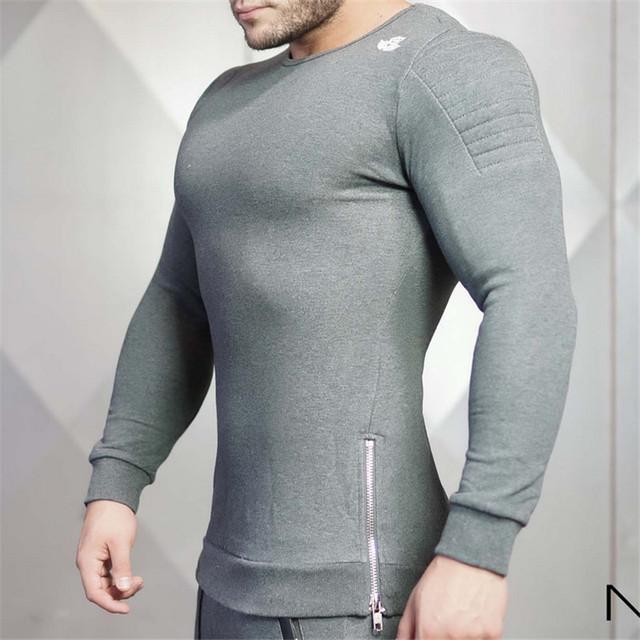 2016 Anos O Corpo de Engenheiros Bodybuilding da Aptidão que funciona Em Torno Do Pescoço de Manga comprida T-shirt Lazer Desgaste e Desgaste
