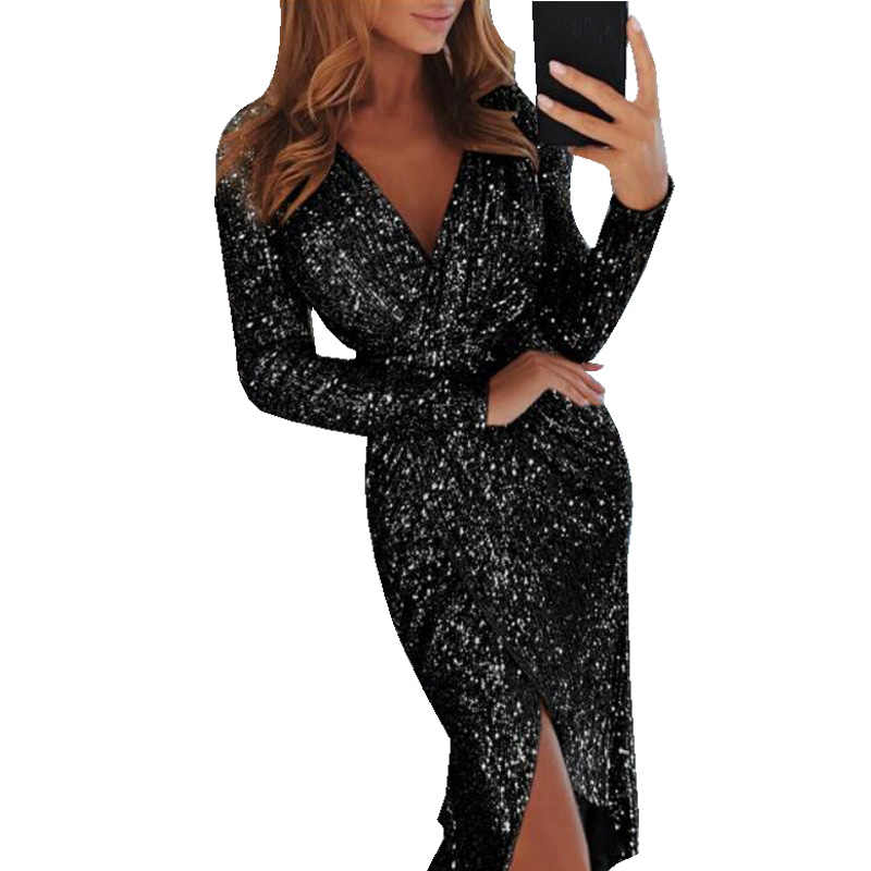 cda70874c49aa Sexy Club Wear Party Dress Women Silver V Neck High Slit Long Sleeve Sequin  Dress Autumn Asymmetrical Bodycon vestidos mujer