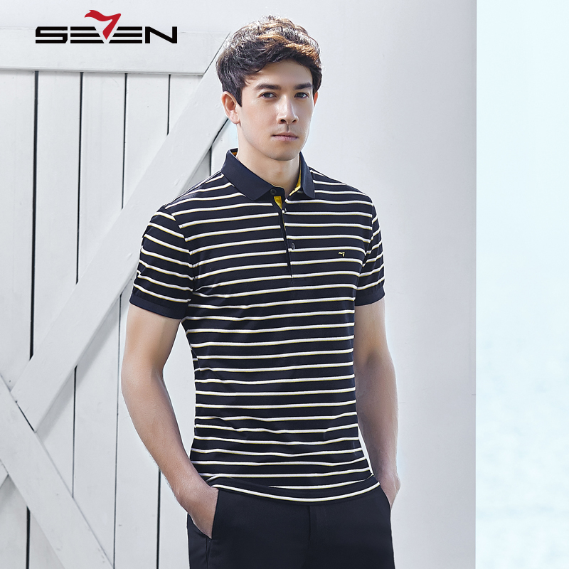 Seven7 2018 Fashion Design Black White Striped Polo Shirts Men Business