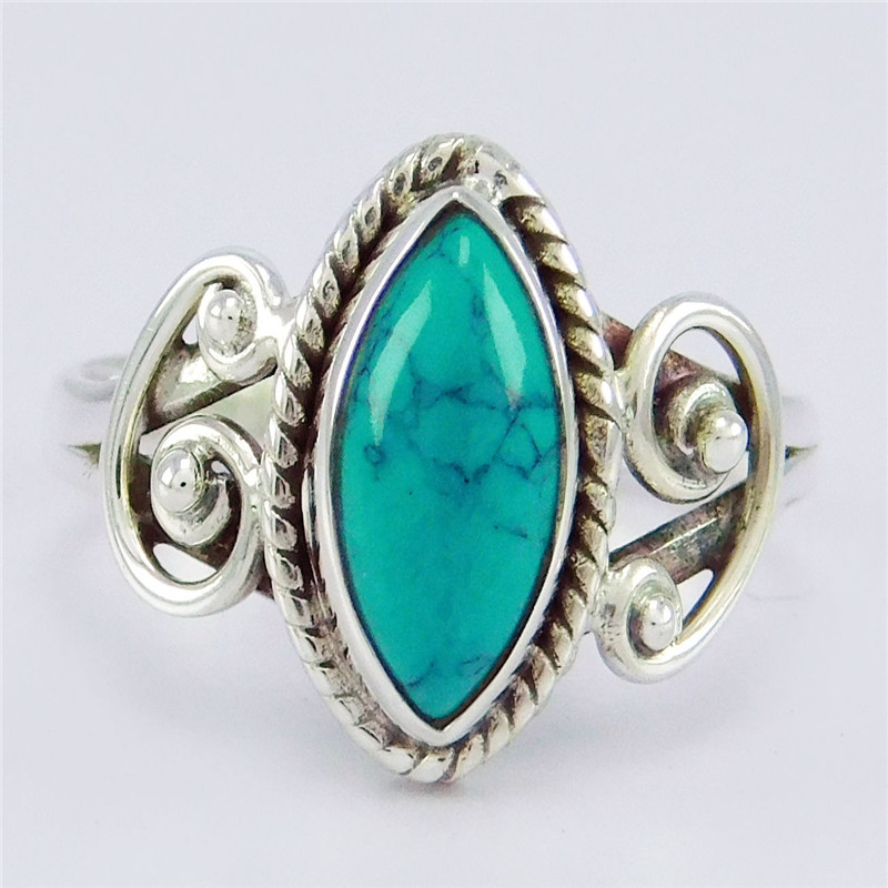 ZHIXUN Fashion Jewelry Vintage Look Tibetan Alloy Antique Silver Plated Personality Red Green Blue Oval Calaite Ring Male Female