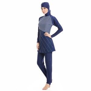 Image 3 - HAOFAN ささやかなイスラム教徒水着ヒジャーブイスラム女性プラスサイズイスラム水着半袖水着サーフスポーツ Burkinis