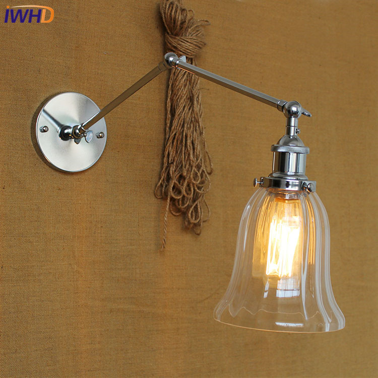 IWHD Swing Long Arm LED Wall Light Up Down Glass Luminaire On the Wall Lamp Bedroom Iron Wandlamp Edison Bulb Lights FixturesIWHD Swing Long Arm LED Wall Light Up Down Glass Luminaire On the Wall Lamp Bedroom Iron Wandlamp Edison Bulb Lights Fixtures