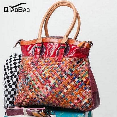 100% Genuine Leather Bag 2016 new hand-woven chain oil wax leather shoulder Messenger Handbag