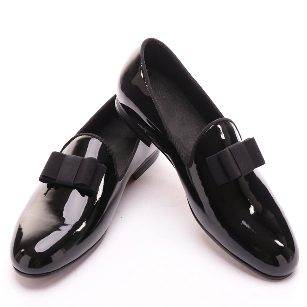 black patent leather men handmade loafers with black bowtie Fashion Banquet and prom men dress shoes piergitar 2017 new black patent leather men handmade loafers with black bowtie fashion banquet and prom men dress shoes