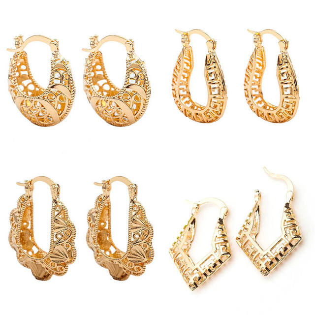 2018 New Design U Shape Hoop Earrings Gold Color Hollow Flower Earring Round Circle Ear Jewelry