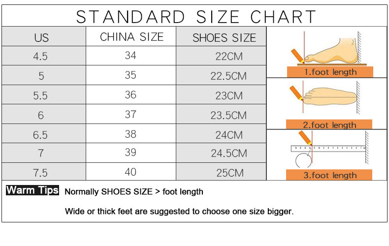standard size spring shoes