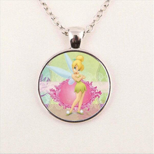 New Fashion Tinker Bell Pendant Cute TinkerBell Necklace Women Men Accessories for Child Girls Glass Cabochon Necklace HZ1