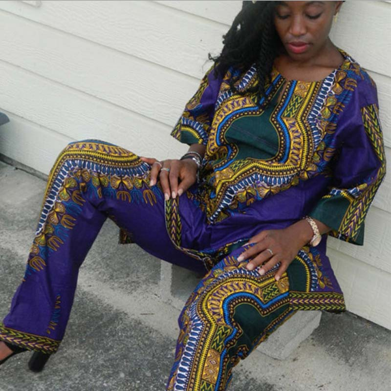 Summer African Clothing Women Two Pieces Set Traditional Print Outfit Half Sleeve Loose Casual Dashiki Dress Long Pants Suit