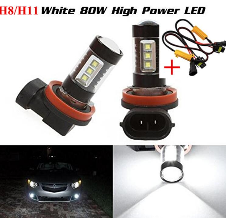 2xh11 <font><b>h8</b></font> Error Free 80W White 6000K <font><b>LED</b></font> <font><b>Cree</b></font> Chips <font><b>Led</b></font> Fog Light Driving Lamp +Load Resistor Bypass Wiring For BMW E90 2005-2012 image