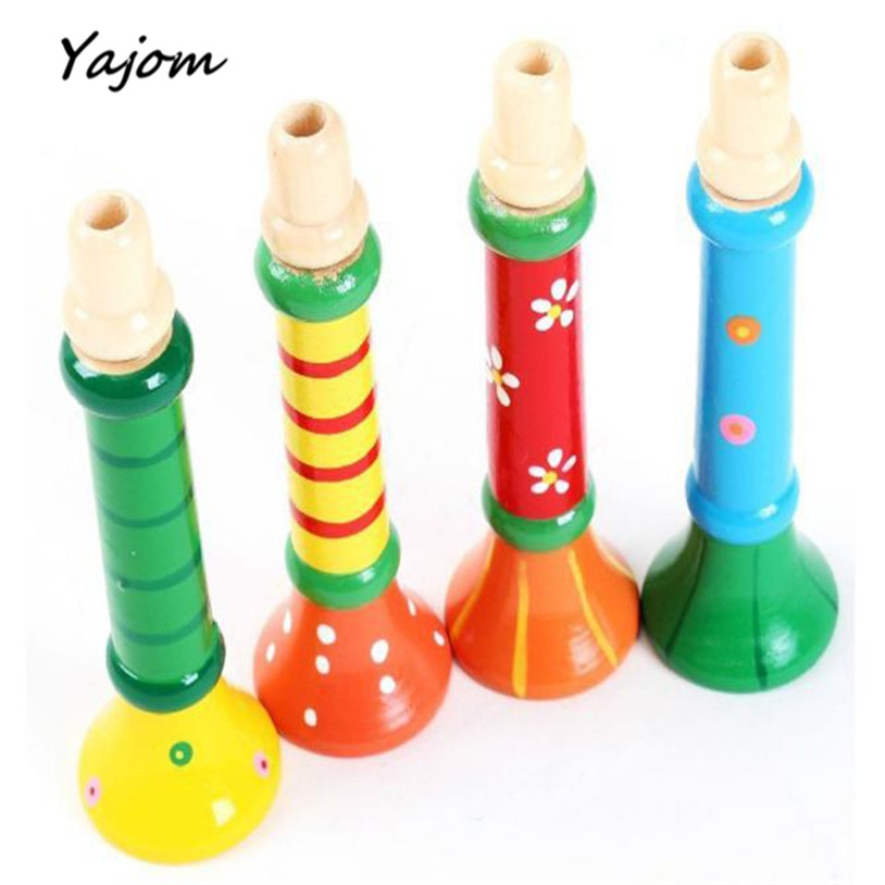 New Baby Multi-Color Baby kids Wooden Horn Hooter Trumpet Instruments Music Toys Great Gift Apr 7