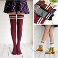 Girls Designer Over Knee Thigh High Socks Autumn Striped Patchwork Sock Japanese Long School Socks for Kids Girl 13-18 Year