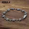 100% Genuine 925 Sterling Silver Vintage Punk Hexagonal star Link Bracelet Thai Silver Jewelry for Man or Women