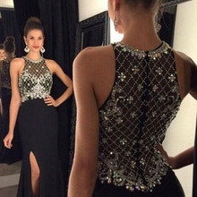 Sexy High Split Long Black Evening Dresses Prom Dresses 2017 with Luxury Beads Crystal Chiffon Floor Length Women Party Gowns