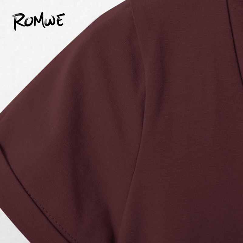 b17e10f925e0 ... ROMWE Women V Neckline Rolled Cuff Bodysuit Summer 2018 Burgundy Skinny  Women Tops Short Sleeve Bodysuit ...