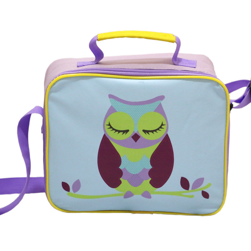 Owl Print Light Purple Lunch Bag Picnic Lunch Bags for Children Waterproof Messenger Heat Preservation Bags for Kids