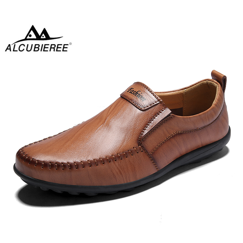 ALCUBIEREE Men Shoes Genuine Leather Moccasin Mens Handmade Loafers Tenis Masculino Adulto Slip On Flat Boat Shoes Male Footwear