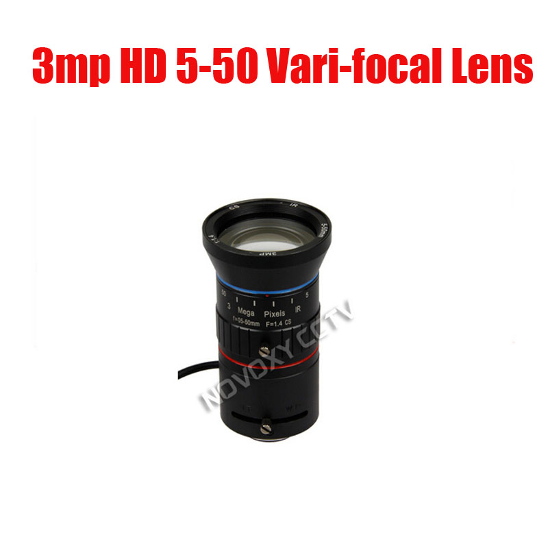 3 Megapixel HD 1/2.7 5-50mm Auto Iris Manual Varifocal CS Mount CCTV Lens F1.4 for Analog / IP Camera Free Shipping цена