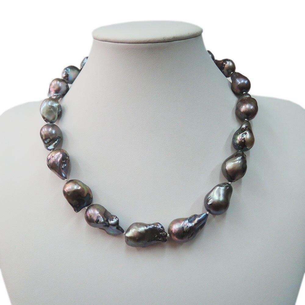 Collier de perles d'eau douce 100%, collier de perles baroques noires-bonne qualité-fermoir en argent 925