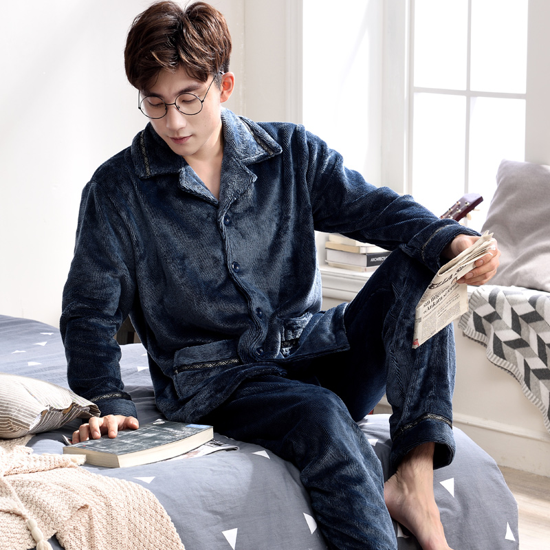 Men's Pajamas Autumn Winter Long Sleeve Sleepwear Coral Fleece Cardigan Pyjamas Men Lounge Pajama Sets Plus size M-3XL Sleep Set