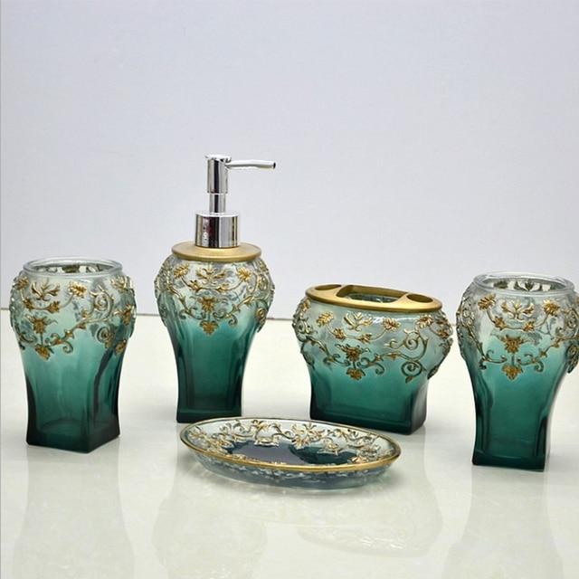 Europe Luxury Resin Bathroom Accessories Set Green Toothbrush Holder Dispenser Soap Dish Home Bathroom Product Wedding Gift