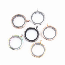 Mix Color DIY Living Memory Floating Charms Glass Lockets Round Twist Screw Top With Crystal Stainless Steel Pendants