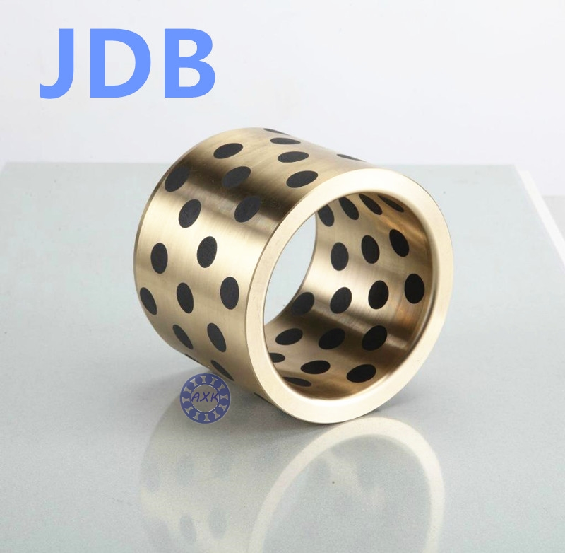 Graphite Lubricating Brass Bearing Bushing Sleeve Oilless JDB253525 JDB253530 JDB253535 JDB253540 JDB253550 JDB253335 JDB253230 jdb 406080 copper sleeve the same size of lm12 linear solid inlay graphite self lubricating bearing