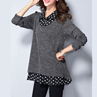 M 5XL Plus Size Cotton Tops Long Sleeve Women S Blouse Casual Long Shirt Autumn Dot