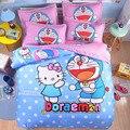 Anime Dos Desenhos Animados Tomada de Cama Doraemon Olá Kitty Jogo de cama 3/4 pcs Jogo De Cama Lençóis de Cama Anime Gêmeo Capa de Edredão Rei JJ691Z