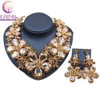 Luxury Christmas Gift Gold golden Shiny Rhinestone Jewelry Set Austrian Crystal Statement Necklace Earrings Jewelry Sets