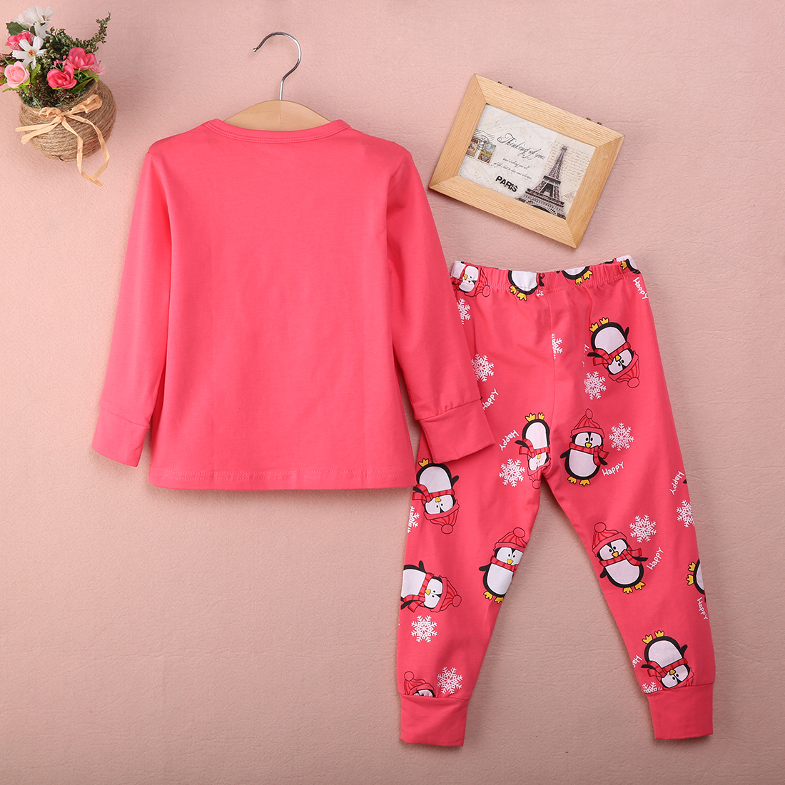 Baby Girls Kids Children Clothing Set Pajamas Sleepwear Top Pants Nightwear Pink
